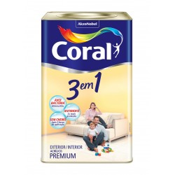 Tinta acrílica 3em1 branca 18l - Coral
