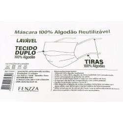 Máscara lavável reutilizável 100% algodão com 10 unidades - Fenzza